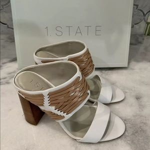 1. State Rexana White Block Heel Sandal $129 Sz 6